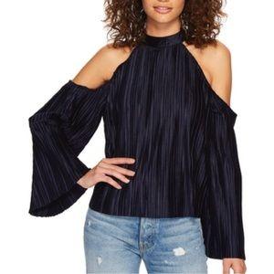 Joa Navy sleeveless blouse off shoulder Velvet